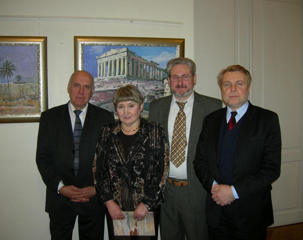 Андрей Кулагин, художник, с академиком А.Арадзековским, послом Израиля Н.Калай Клайтман